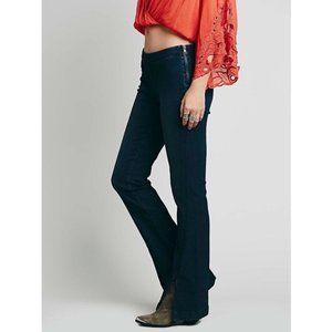 Free People Pull On Flare Split Hem Denim Jeans